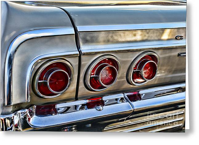 1964 Chevy Impala Tail Lights Greeting Card by Paul Ward