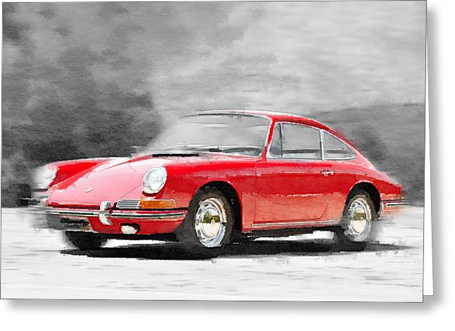 1964 Porsche 911 Watercolor Greeting Card
