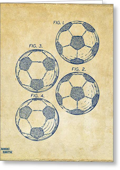 1964 Soccerball Patent Artwork - Vintage Greeting Card