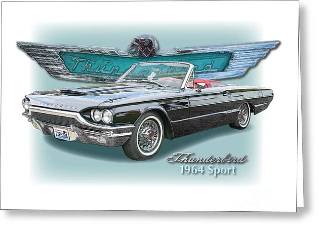 1964 Thunderbird Sport Roadster Greeting Card by Dan Knowler