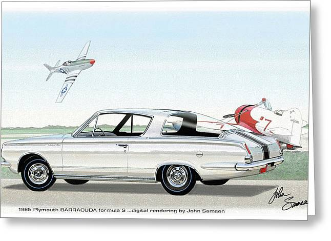 1965 Barracuda  Classic Plymouth Muscle Car Greeting Card by John Samsen