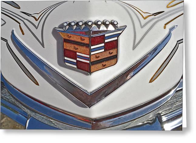 1965 Cadillac Hood Emblem Greeting Card by Bill Owen
