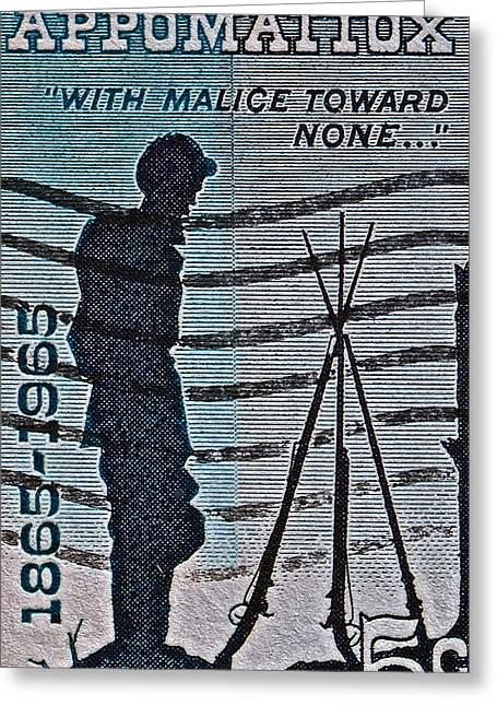 1965 Civil War Centennial Stamp Greeting Card by Bill Owen