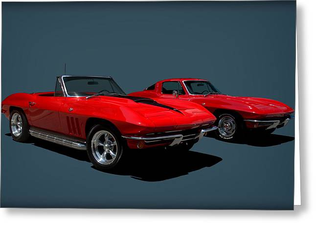 Greeting Card featuring the photograph 1965 Corvette Convertible And 1964 Corvette Stingray by Tim McCullough