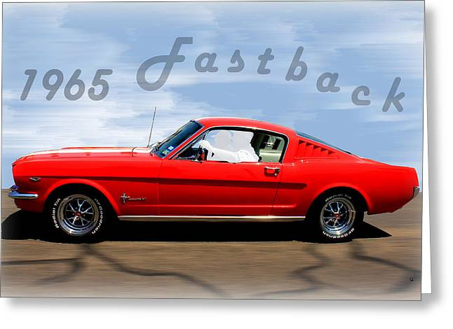 1965 Ford Mustang Fastback Greeting Card by Betty Northcutt
