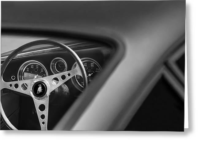 1965 Lamborghini 350 Gt Steering Wheel Emblem Greeting Card by Jill Reger