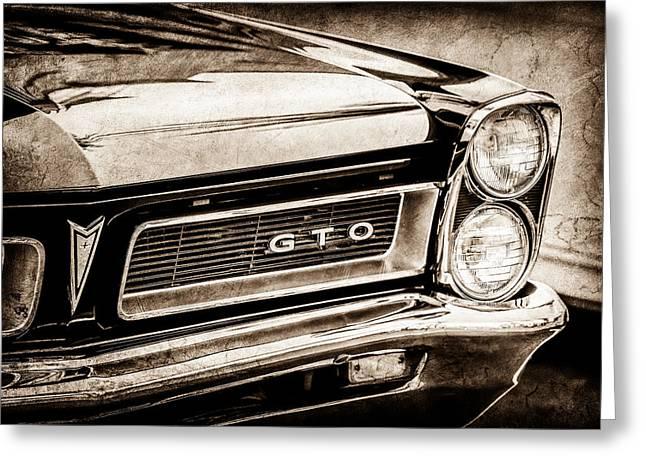 1965 Pontiac Gto Grille Emblem -0442s Greeting Card by Jill Reger
