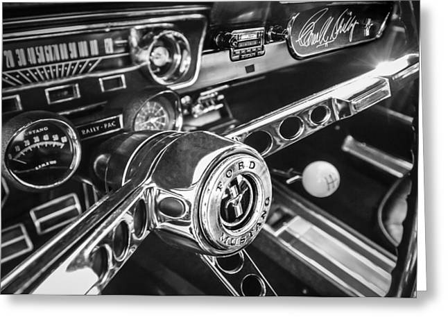 1965 Shelby Prototype Ford Mustang Steering Wheel Emblem -0314bw Greeting Card by Jill Reger