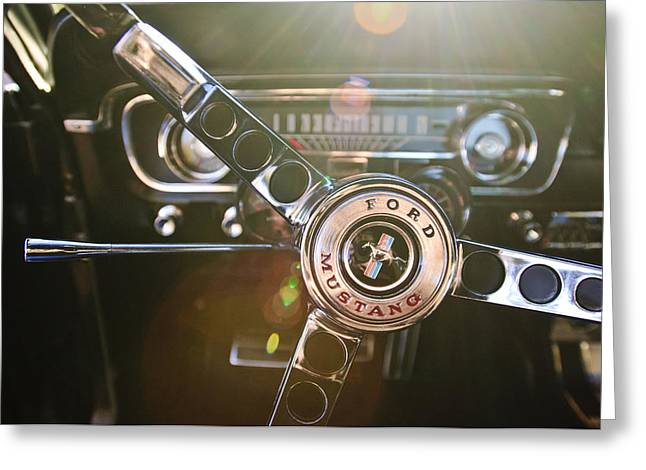 1965 Shelby Prototype Ford Mustang Steering Wheel Emblem Greeting Card by Jill Reger