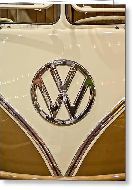 1965 Volkswagen Vw Samba Bus Emblem Greeting Card by Jill Reger