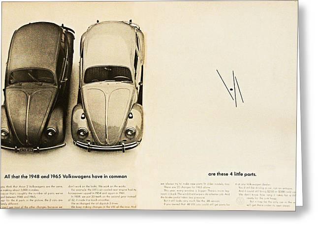 1965 Vw Beetle Advert Greeting Card by Georgia Fowler