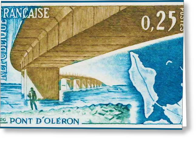 1966 Bridge Oleron Greeting Card by Lanjee Chee