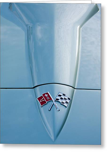 1966 Chevrolet Corvette Coupe Hood Emblem Greeting Card by Jill Reger