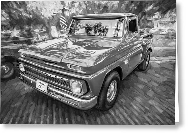 1966 Chevy C10 Pick Up Truck Painted Bw Greeting Card
