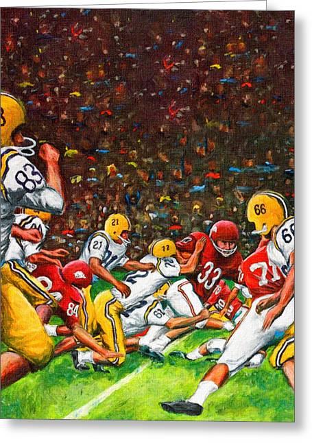1966 Cotton Bowl Lsu Vs. Arkansas Greeting Card by Big 88 Artworks