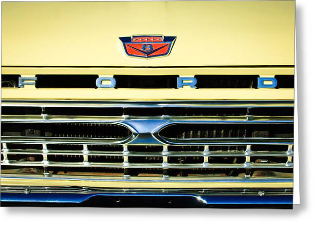1966 Ford Pickup Truck Grille Emblem Greeting Card by Jill Reger
