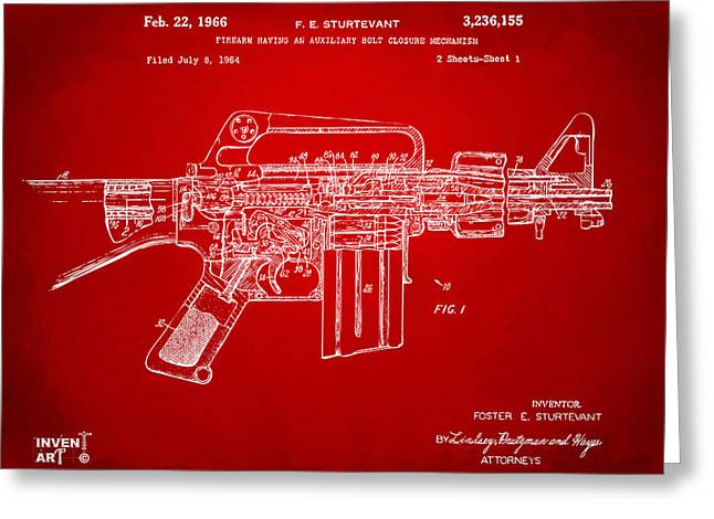 1966 M-16 Gun Patent Red Greeting Card by Nikki Marie Smith