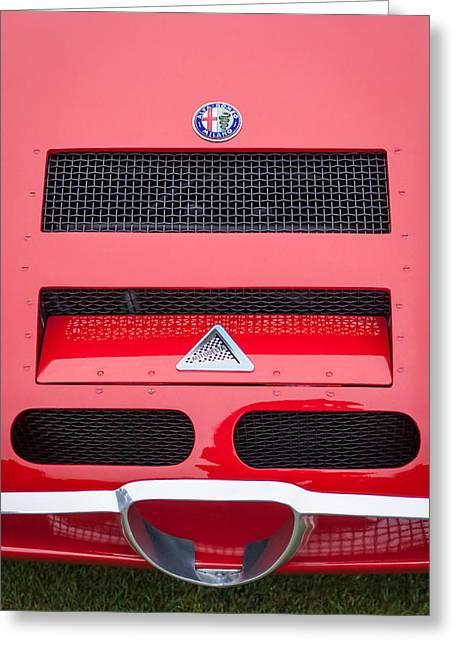 1967 Alfa Romeo Tz2 Zagato Coupe Hood Ornament Greeting Card by Jill Reger