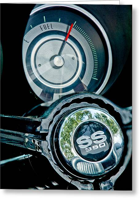 1967 Chevrolet Camaro  Ss Steering Wheel Emblem Emblem Greeting Card by Jill Reger