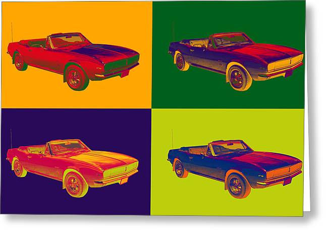 1967 Convertible Camaro Muscle Car Pop Art Greeting Card by Keith Webber Jr