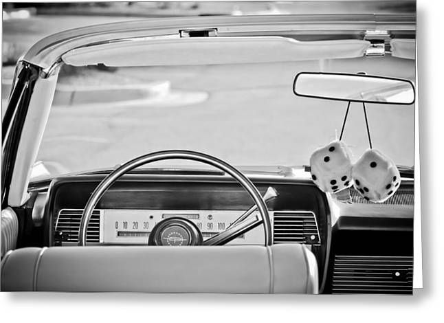 1967 Lincoln Continental Steering Wheel -014bw Greeting Card