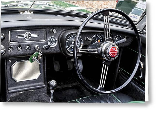 1967 Mgb Roadster Interior Greeting Card by Georgia Fowler
