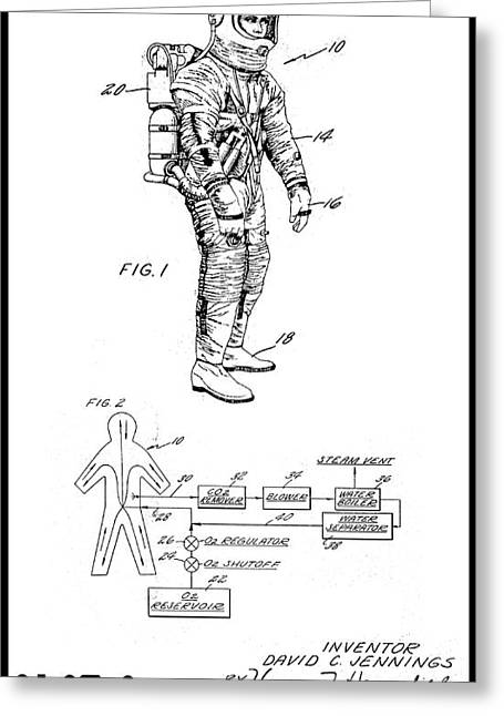 1967 Nasa Astronaut Ventilated Space Suit Patent Art 3 Greeting Card