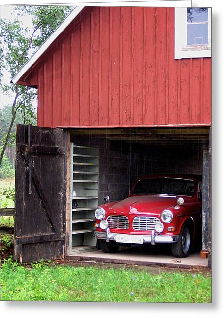 1967 Volvo In Red Sweden Barn Greeting Card