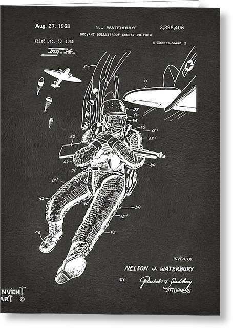 1968 Bulletproof Patent Artwork Figure 14 Gray Greeting Card by Nikki Marie Smith