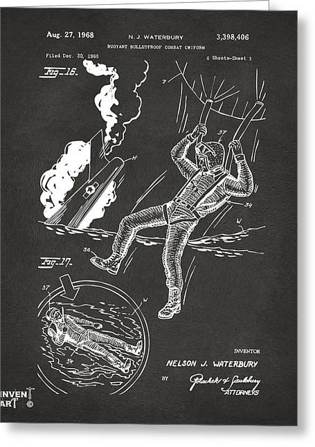 1968 Bulletproof Patent Artwork Figure 16 Gray Greeting Card by Nikki Marie Smith