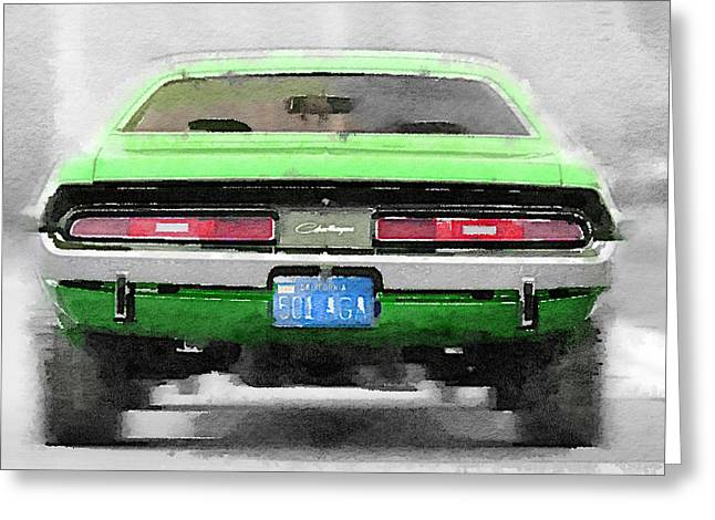 1968 Dodge Challenger Rear Watercolor Greeting Card by Naxart Studio