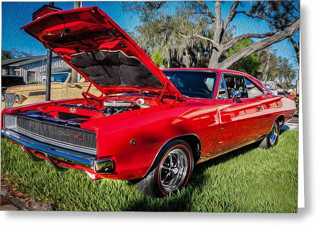 1968 Dodge Charger The Bullit Car Painted Greeting Card by Rich Franco