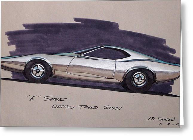1968 E-body Barracuda   Plymouth Vintage Styling Design Concept Rendering Sketch Greeting Card by John Samsen