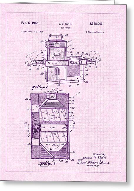 1968 Easy Bake Toy Oven Patent Art Greeting Card by Barry Jones