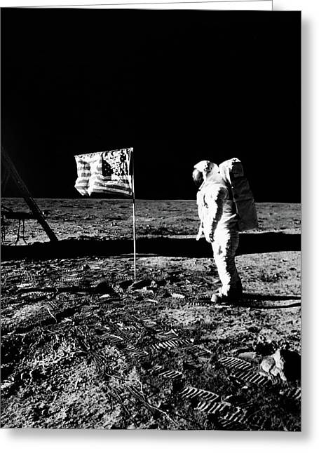 1969 Astronaut Us Flag And Leg Of Lunar Greeting Card