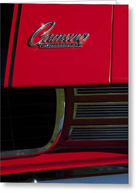 1969 Chevrolet Camaro Rally Sport Emblem Greeting Card by Jill Reger