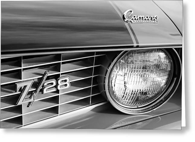 1969 Chevrolet Camaro Z-28 Grille Emblems Greeting Card by Jill Reger