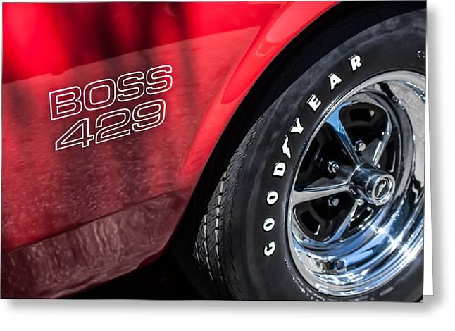 1969 Ford Mustang Boss 429 Sportsroof Side Emblem - Wheel Greeting Card by Jill Reger