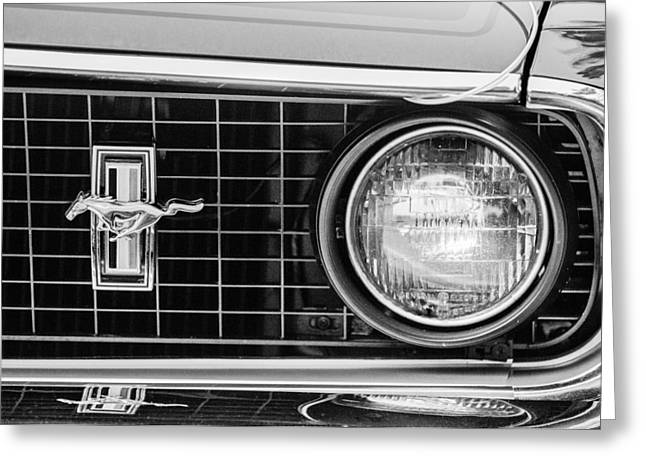 1969 Ford Mustang Mach 1 Grille Emblem Greeting Card by Jill Reger
