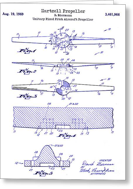 1969 Hartzell Propeller Patent Blueprint Greeting Card by Jon Neidert