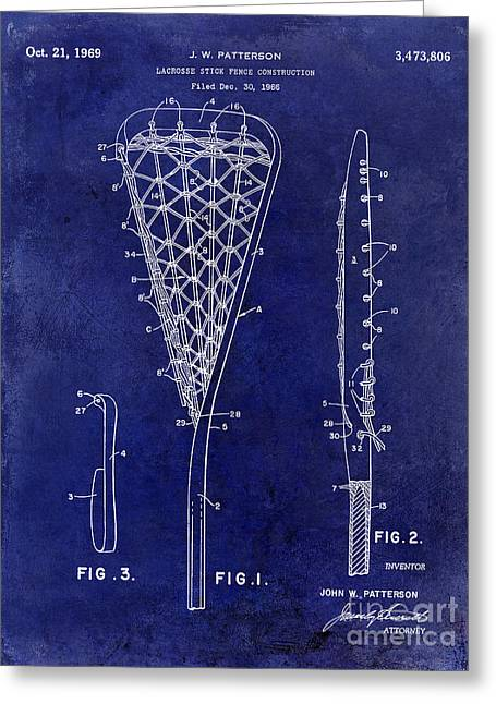 1969 Lacrosse Stick Patent Drawing Blue Greeting Card