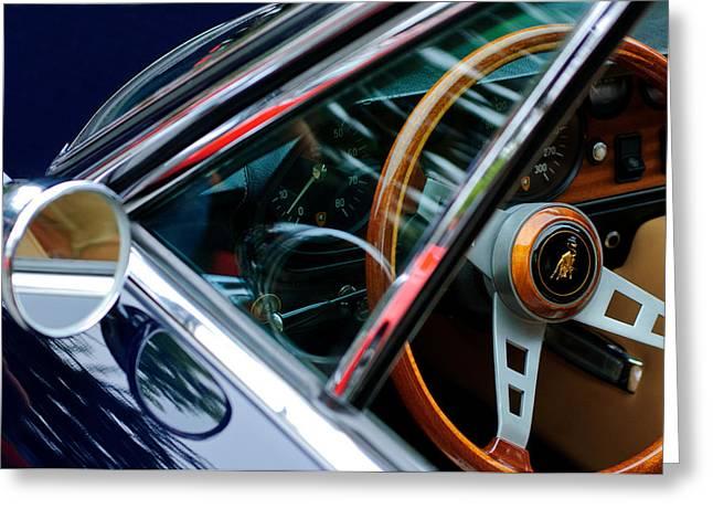 1969 Lamborghini Islero Steering Wheel Emblem Greeting Card by Jill Reger