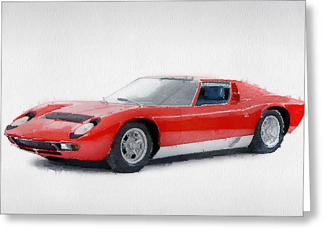 1969 Lamborghini Miura P400 S Watercolor Greeting Card by Naxart Studio