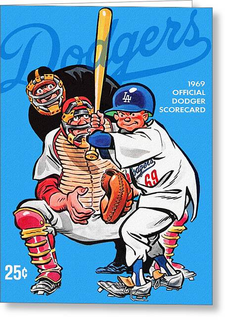 1969 Los Angeles Dodgers Scorecard Greeting Card