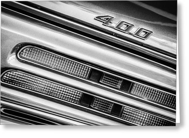 1969 Pontiac 400 Firebird Convertible Taillight Emblem -0029bw Greeting Card