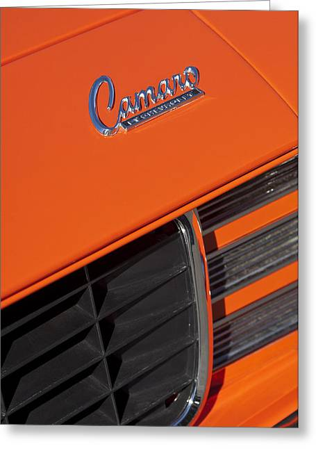 1969 Rs-ss Chevrolet Camaro Grille Emblem Greeting Card by Jill Reger