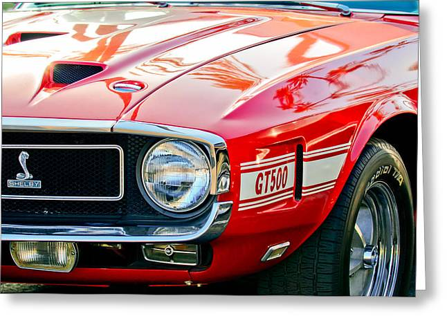 1969 Shelby Cobra Gt500 Front End - Grille Emblem Greeting Card