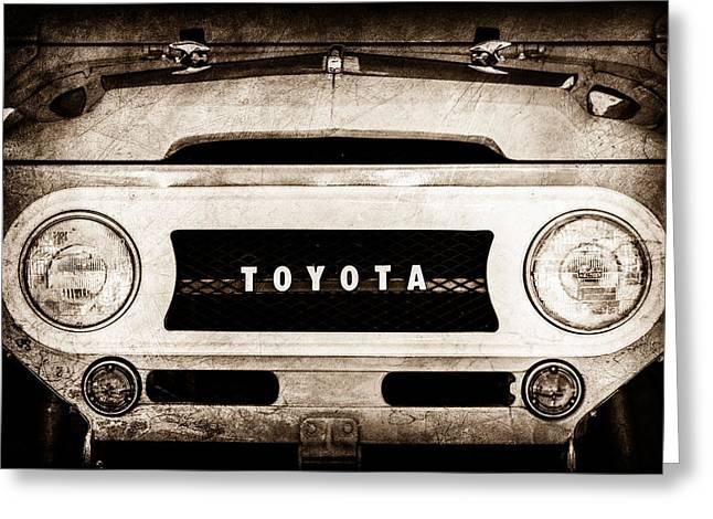 1969 Toyota Fj-40 Land Cruiser Grille Emblem -0444s Greeting Card by Jill Reger