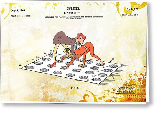 1969 Twister Patent Art 2 Greeting Card by Nishanth Gopinathan