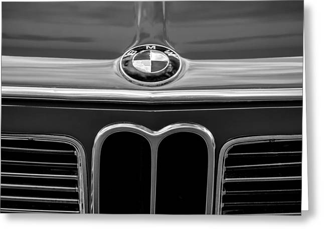 1970 Bmw 2002 Hood Emblem -0645bw Greeting Card